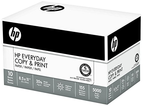 HP Paper, Everyday Copy and Print Poly Wrap, 20lb, 8.5 x 11, Letter, 92 Bright, 5000 Sheets / 10 Ream Case 200060C Made In The USA