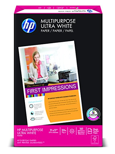 HP Paper, Multipurpose Ultra White, 20lb, 11 x 17 , Ledger, 96 Bright,  500 Sheets / 1 Ream 172001, Made In The USA