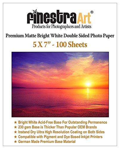 5×7″ 100 Sheets Premium Matte Bright White Inkjet DS Photo Paper 230gsm …