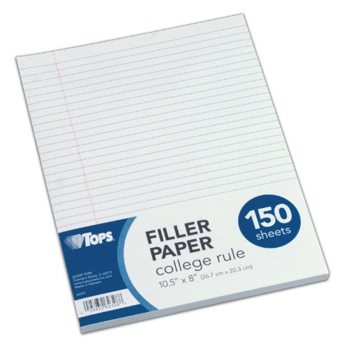 TOPS Filler Paper, College Rule, 10.5 x 8 Inches, 3-Hole Punched, 150 Sheets, White 62328