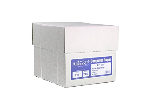 Alliance Continuous Computer Paper 9-1/2″x 11″ Blank Clean Perforrated Edge 1-Part 92 Bright 20lb 2400 Sheets per Carton