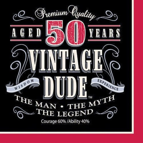 Creative Converting 16 Count Vintage Dude 50th Birthday Lunch Napkins