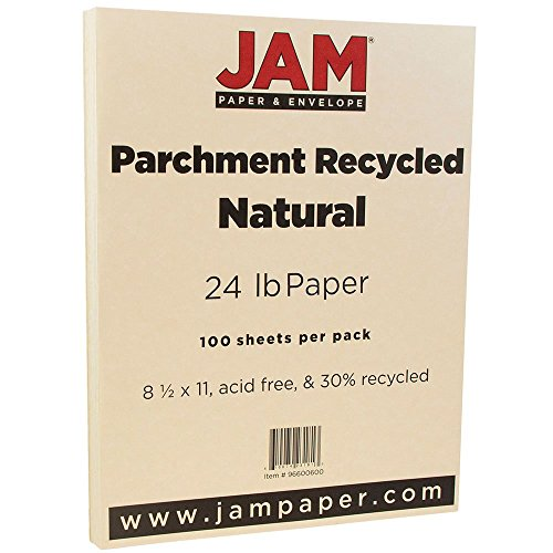 24 lb Natural Recycled- 100/pack – JAM Paper Parchment Paper – 8.5″ x 11″
