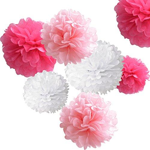 18pcs Tissue Hanging Paper Pom-poms, Hmxpls Flower Ball Wedding Party Outdoor Decoration Premium Tissue Paper Pom Pom Flowers Craft Kit Pink& White