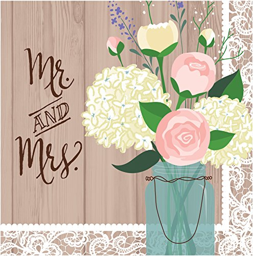 Creative Converting 16 Count 2-Ply Lunch Napkins, Mr. and Mrs. Rustic Wedding