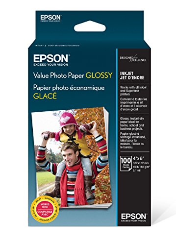Epson Value Photo Paper Glossy, 4″x6″, 100 Sheets S400034