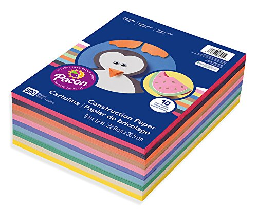 Pacon Lightweight Construction Paper, 9-Inches by 12-Inches, Assorted Colors, 500 Count 6555