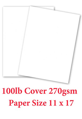 50 Pk – 11×17 – White Card Stock Paper – Heavyweight 100lb Cover 270gsm
