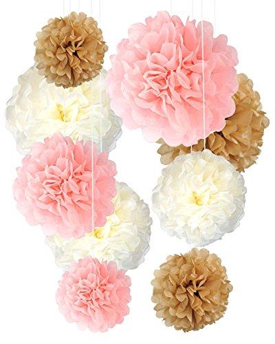 Tissue Pom Pom Decorations Paper Flower Ball 9 Pcs 14 12 10