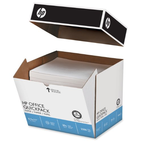 HP Paper, Office Ultra White, 20lb, 8.5 x 11, Letter, 92 Bright, 2,500 Sheets / Quickpack no ream wrap,112103, Made in the USA