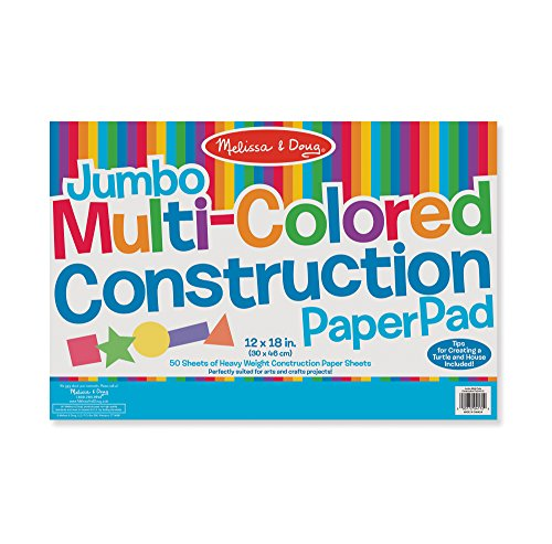 Melissa & Doug Jumbo Multi-Colored Construction Paper Pad 12 x 18 inches With 48 Sheets