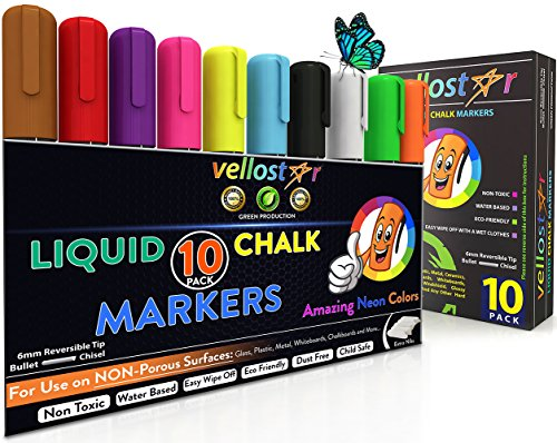 LIQUID CHALK MARKERS 10-Pack with Non-Toxic Erasable Ink & Reversible Chisel-Fine Tip, Fun Neon Color Pens that Spark Your Creativity, Water-Based & Eco-Friendly Chalkboard Markers – Ideal for Kids 3+
