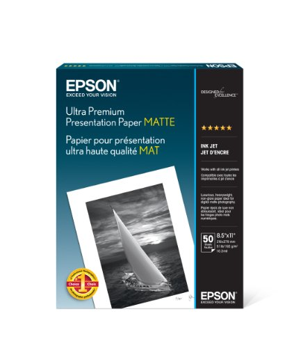 Epson Ultra Premium Presentation Paper MATTE 8.5×11 Inches, 50 Sheets S041341