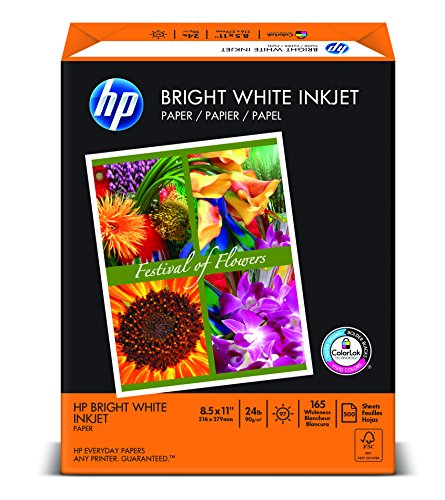 HP Bright White Inkjet Paper, Letter Size 8.5 x 11-Inch, 500 Sheets/Ream HEW203000, Made in the USA