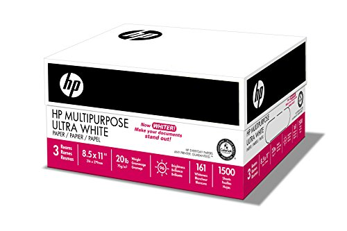 HP Paper, Multipurpose Ultra White, 20lb, 8.5×11, Letter, 96 Bright, 1,500 Sheets / 3 Ream Case, Made In The USA
