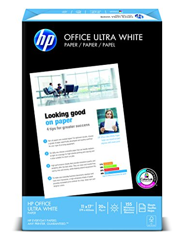 HP Paper, Office Ultra White, 20lb, 11 x 17, Ledger, 92 Bright, 500 Sheets / 1 Ream 172000, Made In The USA