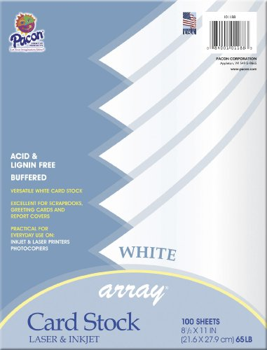 Pacon Card Stock, 8 1/2-inches by 11-inches, White, 100 Sheets 101188