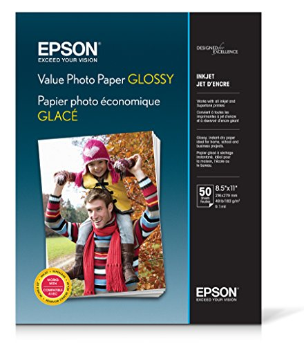 Epson Value Photo Paper Glossy, Letter, 50 Sheets S400031