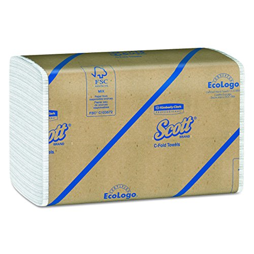 Scott C Fold Paper Towels 01510 with Fast-Drying Absorbency Pockets, 12 Packs / Case, 200 C Fold Towels / Pack