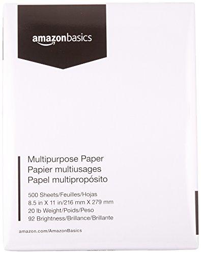 8.5 x 11 Inches, 1 Ream 500 Sheets – AmazonBasics 92 Bright Multipurpose Copy Paper