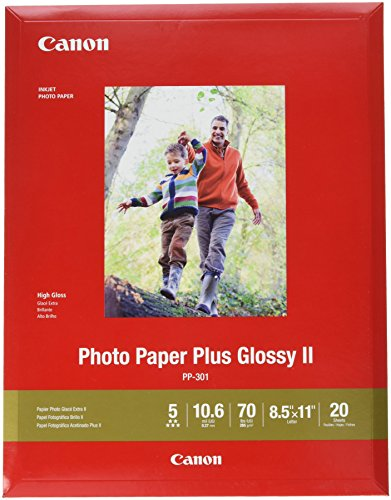 CanonInk Photo Paper Plus Glossy II 8.5″ x 11″ 20 Sheets 1432C003