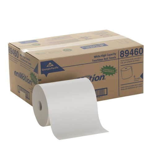 Georgia-Pacific enMotion 894-60 800′ Length x 10″ Width, White High Capacity Touchless Roll Towel Roll of 6