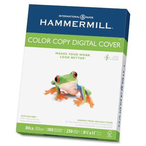 Hammermill Paper, Color Copy Digital Cover, 80 lb, 8.5 x 11, Letter, 250 Sheets / 1 Pack 120023, Made in the USA