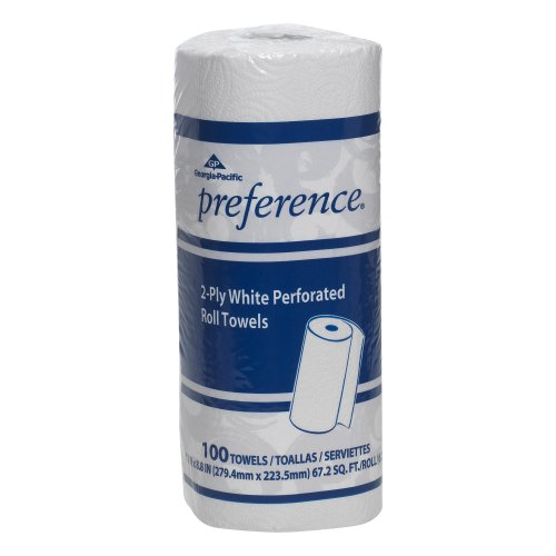 Georgia-Pacific Preference 27300 White 2-ply Perforated Paper Towel Roll,  WxL 11.000″ x 8.800″ Case of 30 Rolls, 100 Towels per Roll