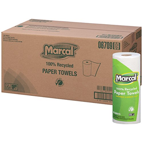 Marcal 6709 100% Premium Recycled Roll Towels, 9 x 11 Inches, 60 Sheets/Roll, 15/Carton 6709