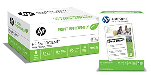 HP Paper, EcoFFICIENT Copy Paper, 16lb, 8.5×11, Letter, 92 Bright 5000 Sheets / 8 Ream Case 216000C, Made In The USA