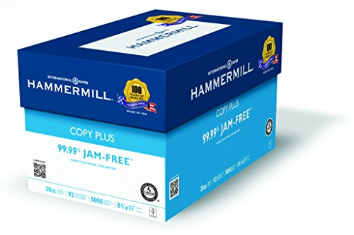 Hammermill Paper, Copy Plus, 20lb, 8.5 x 11, Letter, 92 Bright, 5,000 Sheets / Case 105007, Made in the USA