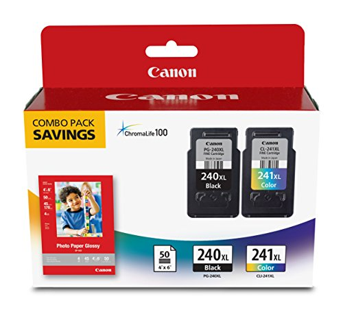 Canon Fine Cartridge PG-240XL/CL-241XL with Photo Paper Glossy 50 Sheets, 4″x6″