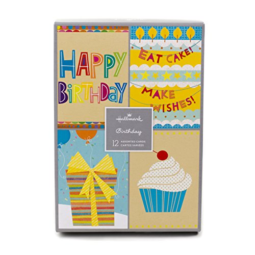 Hallmark Assorted Birthday Greeting Cards Birthday Icons, 12 Cards and Envelopes
