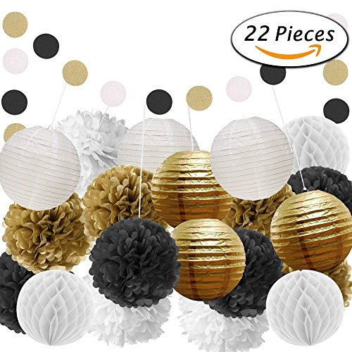 Paxcoo 22 Pcs Black Gold White Tissue Pom Poms Paper Flowers Paper Lanterns for Birthday Party Decoration
