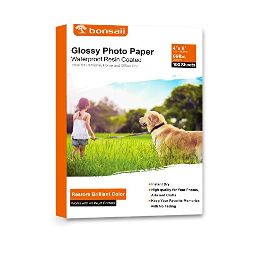 Bonsaii Glossy Photo Paper,4×6 Inches,100 Sheets