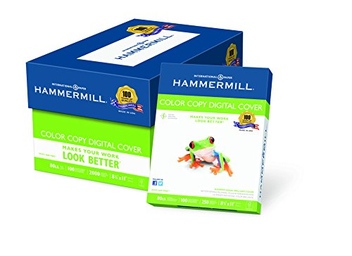 Hammermill Paper, Color Copy Digital Cover, 80lb, 8.5 x 11, Letter, 100 Bright, 2000 Sheets / 8 Pack Case 120023C, Made In The USA