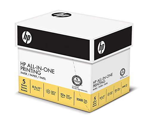 HP Paper, All In One Printing Paper Poly Wrap, 22lb, 8.5 x 11 , Letter, 96 Bright, 2500 Sheets / 5 Ream Case 207000C Made In The USA
