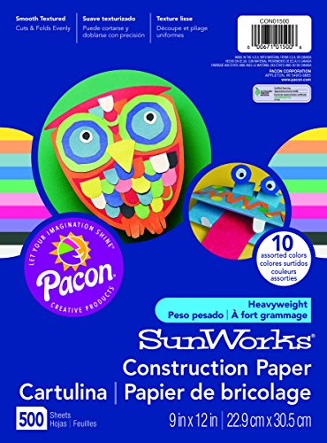 Pacon SunWorks Heavyweight Construction Paper 9-inches by 12-inches 500-count Assorted CON01500