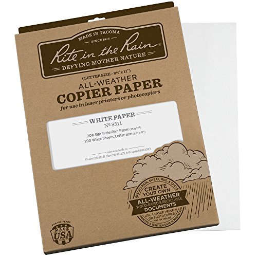 Rite in the Rain All-Weather Copier Paper, 8 1/2″ x 11″, 20# White, 200 Sheet Pack No. 8511