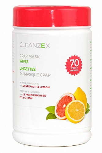 CLEANZEX 100% Cotton CPAP Mask Wet Wipes with Grapefruit Lemon Scent, 70 Wipes