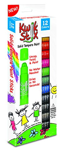 The Pencil Grip Kwik Stix Solid Tempera Paint, Super Quick Drying, 12 Pack TPG-602