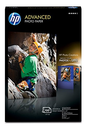 HP Advanced Photo Paper, Glossy 100 Sheets, 4 x 6 Inches, borderless