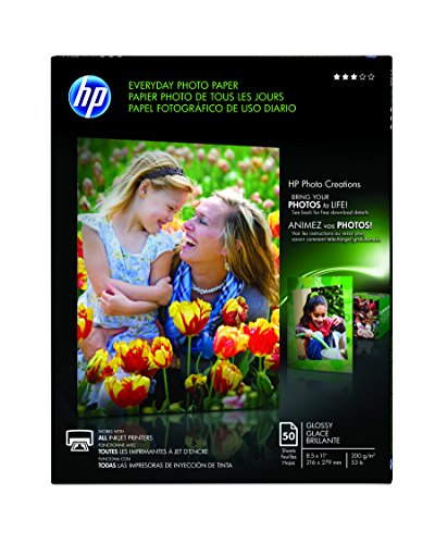 HP Everyday Photo Paper, Glossy, 8.5 x 11 Inches, 50 Sheets per Pack Q8723AND