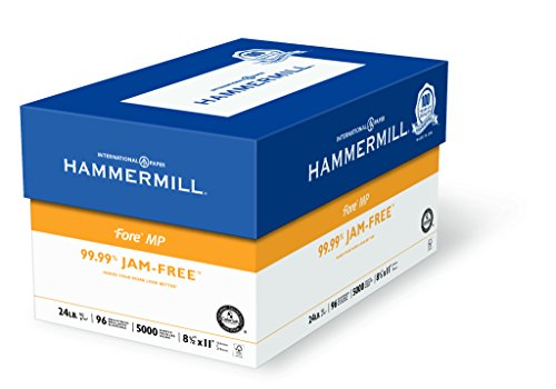 Hammermill Paper, Fore MP, 24lb, 8.5 x 11, Letter, 96 Bright, 5000 Sheets / 10 Ream Case 103283C, Made In The USA