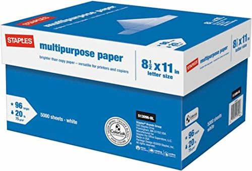Staples Multipurpose Inkjet & Laser Paper, 8.5 X 11″, 5000 Sheets/Case Carton