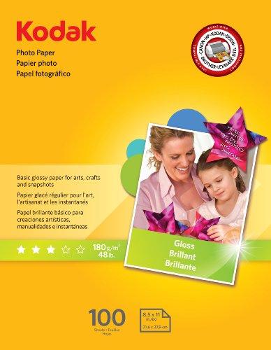 Kodak Glossy Photo Paper, 8.5 x 11 Inches, 100 Sheets per Pack 8209017