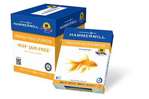 Hammermill Paper, Premium Multi-Purpose Poly Wrap, 24 lb, 8.5 x 11, Letter,  97 Bright, 2500 Sheets / 5 Ream Case 105810C Made In The USA