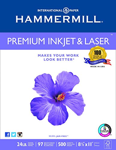Hammermill Paper, Premium Ink & Laser Poly Wrap, 24lb, 8.5×11, Letter, 97 Bright 500 Sheets / 1 Ream 166140R Made In The uSA