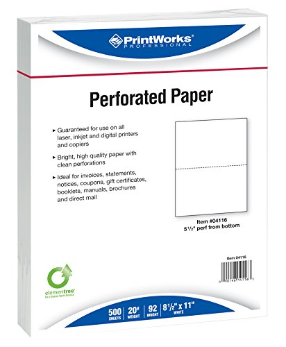 Printworks Professional Perforated Paper, 8.5 x 11 Inches, 20 Pound, 5.5-Inch Perforation from Bottom, 500 Sheets, White 04116