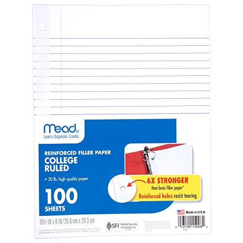 Mead Filler Paper, College Ruled, Reinforced, 10-1/2″ x 8″, Loose Leaf 15008